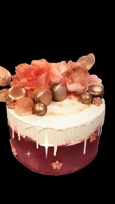 Macaron Roze Drip Cake