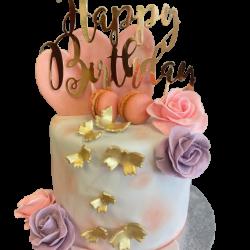 Macaron Roze en Grijze Drip Cake