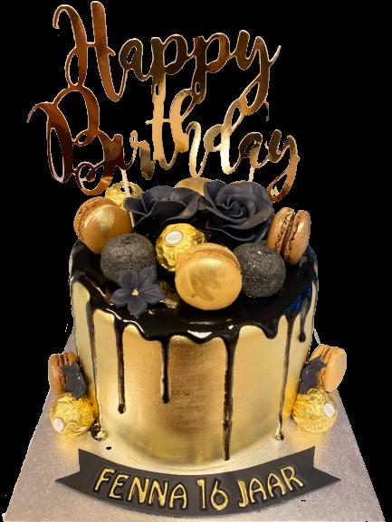 Macaron Zwart Gouden