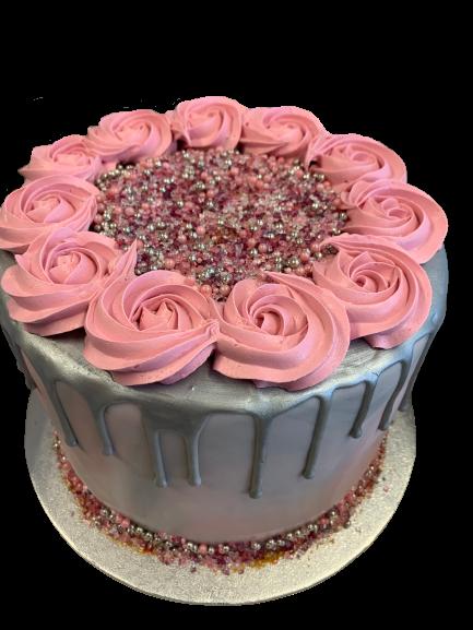 Roze Bloemen Drip Cake