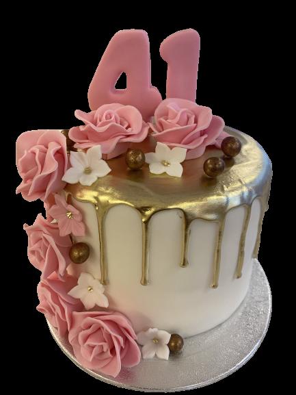 Roze Bloemen Gouden Drip Cake