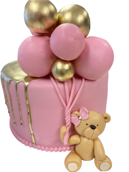 Roze en Gouden Ballon Baby Beer Taart